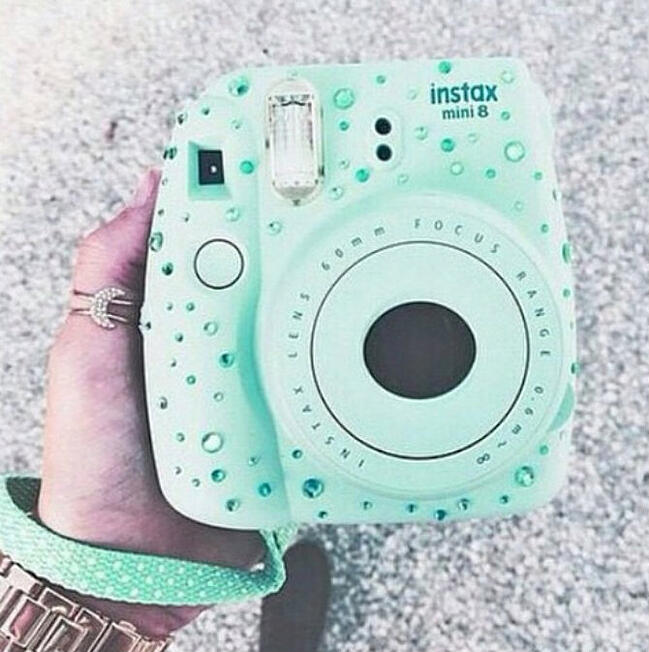 decorating instax with jewels